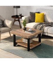 """Trexm Rustic Natural Coffee Table With Storage Shelf For Living Room, Easy Assembly (26""""X26"""")"""