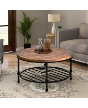 Trexm Rustic Natural Round Coffee Table With Storage Shelf For Living Room, Easy Assembly (Round)