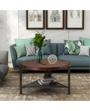 Trexm Coffee Table Round Industrial Design Metal Legs With Storage Open Shelf For Living Room, Easy Assembly