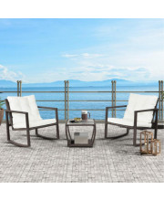 Topmax 3 Pcs Wicker Patio Rocking Chair Armchair Outdoor Porch Deck All Weather Gliding Rocker With Coffee Table And Cushions (White Cushion)