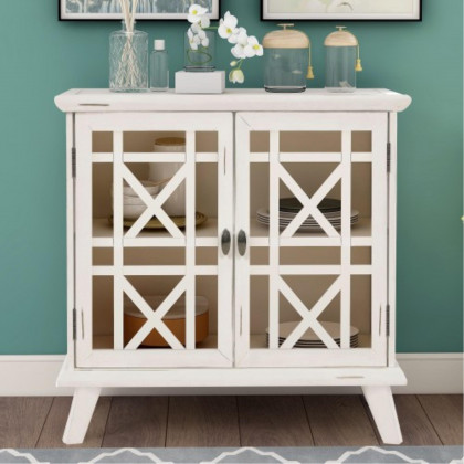 Trexm Wood Door Accent Cabinet With Adjustable Shelf Storage Cabinet For Hallway Dining Console Table (Antique White)