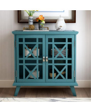 Trexm Wood Door Accent Cabinet With Adjustable Shelf Storage Cabinet For Hallway Dining Console Table (Antique Navy)