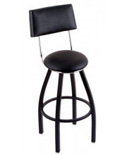 """C8B4 Classic Series 25"""" Counter Stool with Black Wrinkle Finish, Black Vinyl Seat and Back, and 360 swivel"""