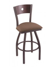 """XL 830 Voltaire 36"""" Bar Stool with Pewter Finish, Axis Willow Seat, Dark Cherry Maple Back, and 360 swivel"""
