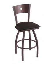 """XL 830 Voltaire 36"""" Bar Stool with Pewter Finish, Black Vinyl Seat, Dark Cherry Maple Back, and 360 swivel"""