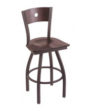 """XL 830 Voltaire 36"""" Bar Stool with Pewter Finish, Dark Cherry Maple Seat, Dark Cherry Maple Back, and 360 swivel"""