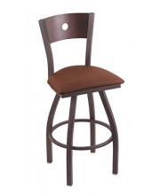 """XL 830 Voltaire 36"""" Bar Stool with Pewter Finish, Rein Adobe Seat, Dark Cherry Maple Back, and 360 swivel"""