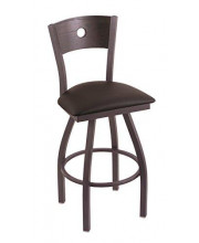 """XL 830 Voltaire 36"""" Bar Stool with Pewter Finish, Allante Espresso Seat, Dark Cherry Oak Back, and 360 swivel"""