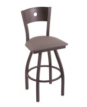 """XL 830 Voltaire 36"""" Bar Stool with Pewter Finish, Allante Dark Cherry Grey Seat, Dark Cherry Oak Back, and 360 swivel"""