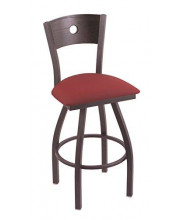 """XL 830 Voltaire 36"""" Bar Stool with Pewter Finish, Allante Wine Seat, Dark Cherry Oak Back, and 360 swivel"""