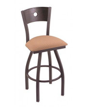 """XL 830 Voltaire 36"""" Bar Stool with Pewter Finish, Axis Summer Seat, Dark Cherry Oak Back, and 360 swivel"""