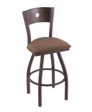 """XL 830 Voltaire 36"""" Bar Stool with Pewter Finish, Axis Willow Seat, Dark Cherry Oak Back, and 360 swivel"""