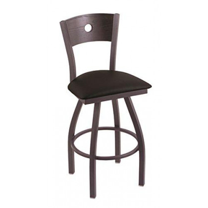 """XL 830 Voltaire 36"""" Bar Stool with Pewter Finish, Black Vinyl Seat, Dark Cherry Oak Back, and 360 swivel"""