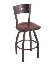 "XL 830 Voltaire 36"" Bar Stool with Pewter Finish, Dark Cherry Oak Seat, Dark Cherry Oak Back, and 360 swivel"