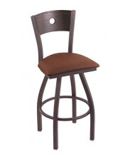 """XL 830 Voltaire 36"""" Bar Stool with Pewter Finish, Rein Adobe Seat, Dark Cherry Oak Back, and 360 swivel"""
