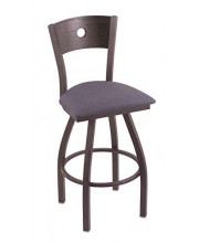 """XL 830 Voltaire 36"""" Bar Stool with Pewter Finish, Rein Bay Seat, Dark Cherry Oak Back, and 360 swivel"""