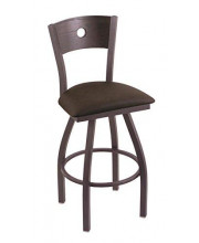 """XL 830 Voltaire 36"""" Bar Stool with Pewter Finish, Rein Coffee Seat, Dark Cherry Oak Back, and 360 swivel"""