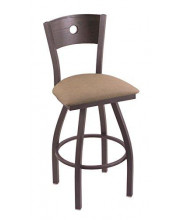 """XL 830 Voltaire 36"""" Bar Stool with Pewter Finish, Rein Thatch Seat, Dark Cherry Oak Back, and 360 swivel"""