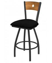 """XL 830 Voltaire 36"""" Bar Stool with Pewter Finish, Black Vinyl Seat, Medium Maple Back, and 360 swivel"""
