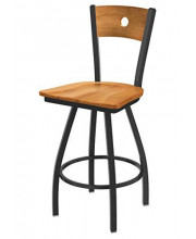 """XL 830 Voltaire 36"""" Bar Stool with Pewter Finish, Medium Maple Seat, Medium Maple Back, and 360 swivel"""