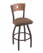 """XL 830 Voltaire 36"""" Bar Stool with Pewter Finish, Axis Willow Seat, Medium Oak Back, and 360 swivel"""