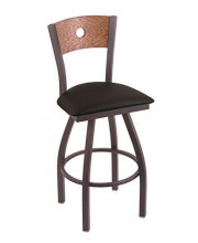 """XL 830 Voltaire 36"""" Bar Stool with Pewter Finish, Black Vinyl Seat, Medium Oak Back, and 360 swivel"""