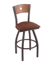 """XL 830 Voltaire 36"""" Bar Stool with Pewter Finish, Rein Adobe Seat, Medium Oak Back, and 360 swivel"""