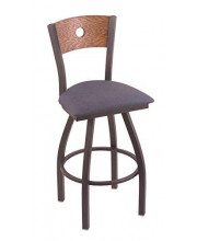 """XL 830 Voltaire 36"""" Bar Stool with Pewter Finish, Rein Bay Seat, Medium Oak Back, and 360 swivel"""