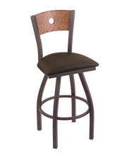 """XL 830 Voltaire 36"""" Bar Stool with Pewter Finish, Rein Coffee Seat, Medium Oak Back, and 360 swivel"""