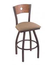 """XL 830 Voltaire 36"""" Bar Stool with Pewter Finish, Rein Thatch Seat, Medium Oak Back, and 360 swivel"""