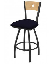 """XL 830 Voltaire 36"""" Bar Stool with Pewter Finish, Allante Dark Blue Seat, Natural Maple Back, and 360 swivel"""