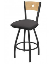 """XL 830 Voltaire 36"""" Bar Stool with Pewter Finish, Allante Medium Grey Seat, Natural Maple Back, and 360 swivel"""