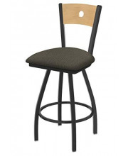 """XL 830 Voltaire 36"""" Bar Stool with Pewter Finish, Axis Willow Seat, Natural Maple Back, and 360 swivel"""