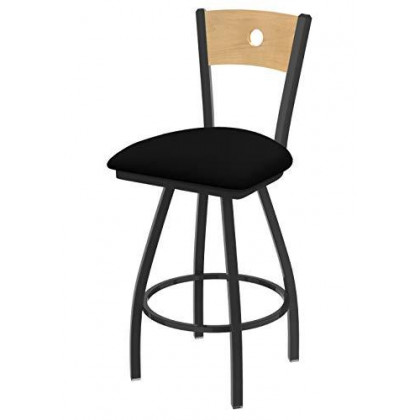 """XL 830 Voltaire 36"""" Bar Stool with Pewter Finish, Black Vinyl Seat, Natural Maple Back, and 360 swivel"""