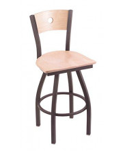 """XL 830 Voltaire 36"""" Bar Stool with Pewter Finish, Natural Maple Seat, Natural Maple Back, and 360 swivel"""