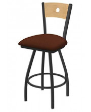 """XL 830 Voltaire 36"""" Bar Stool with Pewter Finish, Rein Adobe Seat, Natural Maple Back, and 360 swivel"""