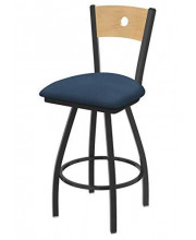 """XL 830 Voltaire 36"""" Bar Stool with Pewter Finish, Rein Bay Seat, Natural Maple Back, and 360 swivel"""