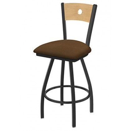 """XL 830 Voltaire 36"""" Bar Stool with Pewter Finish, Rein Thatch Seat, Natural Maple Back, and 360 swivel"""