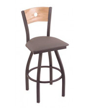 """XL 830 Voltaire 36"""" Bar Stool with Pewter Finish, Allante Medium Grey Seat, Natural Oak Back, and 360 swivel"""