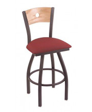 """XL 830 Voltaire 36"""" Bar Stool with Pewter Finish, Allante Wine Seat, Natural Oak Back, and 360 swivel"""