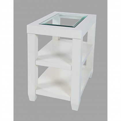 Urban Icon Glass Inlay Chair Side End Table With Storage