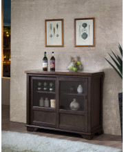 D6490-4 Brown Wood Wine Rack Sideboard Buffet Server Storage Cabinet With Drawers, Shelf & Doors
