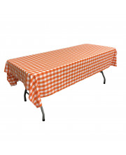 La Linen Polyester Gingham Checkered 60 By 108-Inch Rectangular Tablecloth, White And Orange
