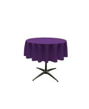 La Linen Polyester Poplin Tablecloth 51-Inches Round, Purple