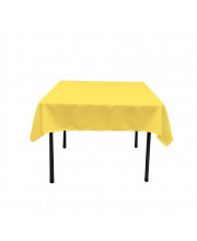 La Linen Polyester Poplin Square Tablecloth, 52 By 52-Inch, Light Yellow