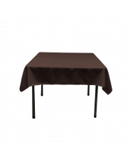 La Linen Polyester Poplin Square Tablecloth, 58 By 58-Inch, Brown