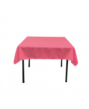 La Linen Polyester Poplin Square Tablecloth, 58 By 58-Inch, Hot Pink