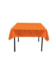 La Linen Polyester Poplin Square Tablecloth, 58 By 58-Inch, Orange