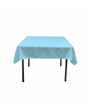 La Linen Polyester Poplin Square Tablecloth, 58 By 58-Inch, Light Turquoise