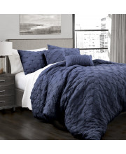 Ravello Pintuck Comforter Navy 5Pc Set King